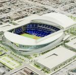 Florida Marlins ballpark roof structure complete