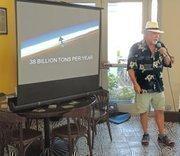 Dan Kipnis speaks at meeting on sea level rise.