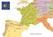 The El Camino path through France and Spain.