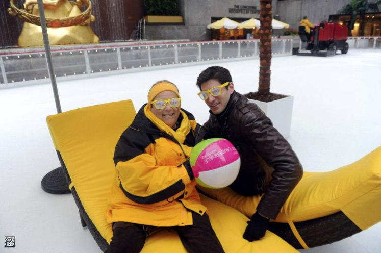 Nicki Grossman, CEO of the Greater Fort Lauderdale Convention and Visitors Bureau, donned a yellow and black parka to talk with NBC reporter Ben Aaron during a road show in New York City.