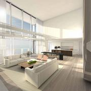 The living room in apartment 1601. About half the units have sold, Schrager said.