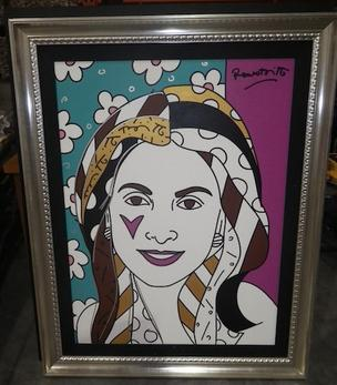 A painting by Romero Brito is part of an upcoming bankruptcy auction for Claudio Osorio. The painting is said to be of Osorio's wife, Amarilis.