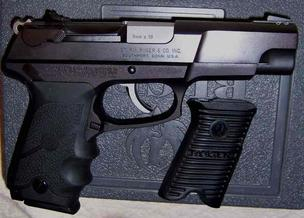 A Ruger 9mm handgun.