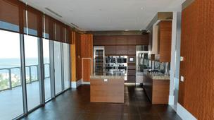 The kitchen in a corner unit at Apogee South Beach.