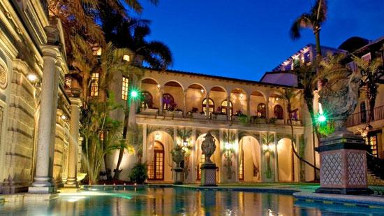 A courtyard and pool at Casa Casuarina on Ocean Drive in Miami Beach.