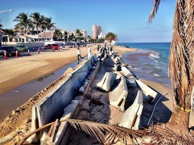 Beach erosion looking north on A1A in Fort Lauderdale.