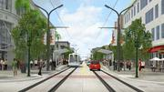 An artist's rendering shows how The Wave would ride on tracks embedded in existing streets.