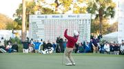 Pavin makes the winning putt at the 2012 Allianz Championship in Boca Raton.