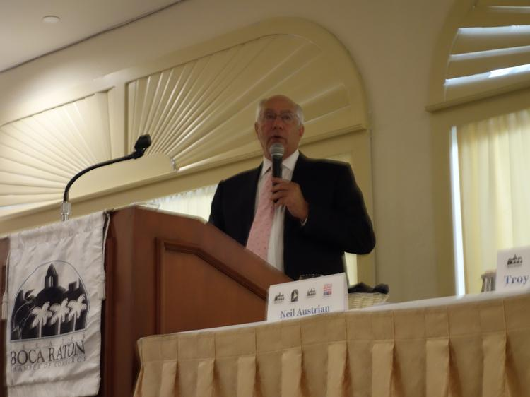 Office Depot CEO Neil Austrian spoke at the Boca Raton Chamber of Commerce monthly breakfast on Thursday.