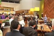 California Pizza Kitchen CEO G.J. Hart gives his opening speech during a preview of the restaurant's new location at Sawgrass Mills Mall.