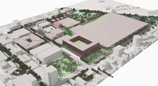 A rendering of the Miami Beach Convention Center redevelopment by Portman CMC.
