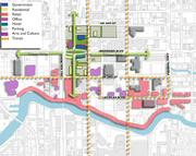 An overview of potential redevelopment shows how Broward Boulevard would be the major east-west transportation spine, while the new development would also have a north-south spine, such as The Wave trolley line. (Click here to see an earlier post about how The Wave could transform the downtown area.)