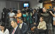 The media turned out early Monday for the press conference with Miami Mayor Carlos Gimenez and Miami Dolphins CEO Mike Dee.