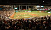 The opening night crowd at Marlins Park
