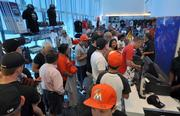 The team store was packed with fans buying MIami Marlins gear.