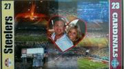 A framed poster from Superbowl XLIII (43) with Kim and Scott Rothstein's photograph.