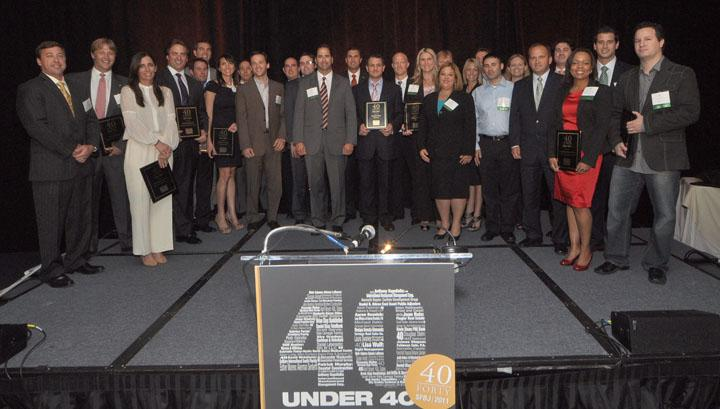 The 40 Under 40 honorees for 2011 pose for a group picture.