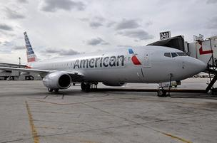 American Airlines' new Boeing 737-800 aircraft with new logo and livery at Miami International Airport.