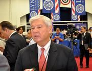 Former Sen. Bob Graham speaks with reporters after the debate.