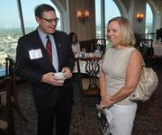 Attendees Stephen Estler, of Estler Financial, and Tammy Kennedy, of TriNet.
