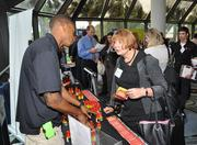 Reginald Noralus of 5-Hour Energy speaks with Felicia Smith of Fox Rothschild, an event honoree.