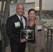 Honoree Luis Salazar of Infante Zumpano Salazar & Miloch and Melanie Dickinson, president and publisher of the South Florida Business Journal.