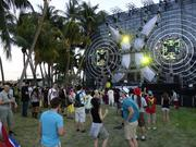 Dutch DJ Black Sun Empire plays for a small crowd at the Bass Station during Ultra Music Festival's first weekend.