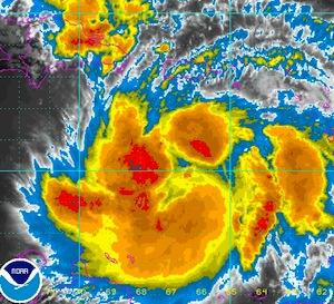 Tropical Storm Isaac image from the National Oceanic and Atmospheric Association on Thursday.