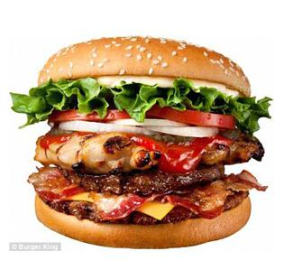 The Meat Monster Whopper is made with two meat patties, a chicken patty, two slices of cheese and three strips of bacon.