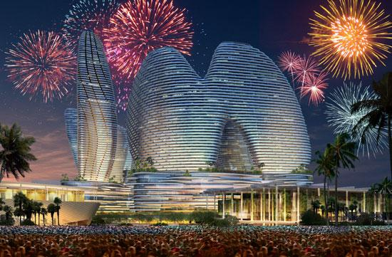 An artist's rendering shows the sail-like shapes of Resorts World Miami.