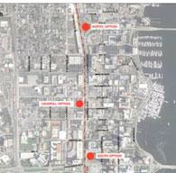 All Aboard Florida has identified three possible locations for its passenger rail station in West Palm Beach, including one site just east of CityPlace.