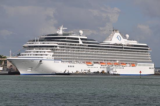 Oceania Cruises' Riviera arrived at the PortMiami from Barcelona on Thursday.