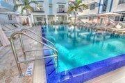 Poolside at the Pestana South Beach Art Deco Hotel.