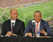 Miami Dolphins owner Stephen Ross and Dolphins CEO Mike Dee together Monday to announce a $400 million plan to upgrade Sun Life Stadium.