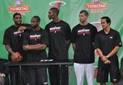 The Heat's Big Three – LeBron James, Dwyane Wade and Chris Bosh – are joined by newcomer Shane Battier and head coach Erik Spoelstra.