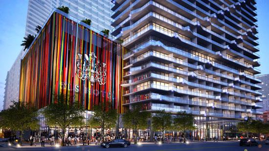 This rendering of the SLS Brickell condo-hotel shows what Related is planning for the mall.