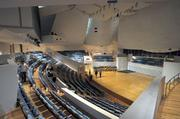 The $160 million New World Center includes a curved performance hall.