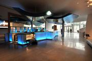 The $160 million New World Center includes a lobby with blue lights.
