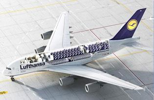 Lufthansa's A380 can accommodate more than  800 passengers if configured only to have an economy class. With first and business classes, too, it can seat 526.