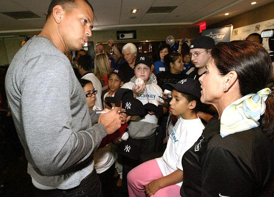 Alex Rodriguez with Starkey Hearing Foundation co-founder Tani Austin at the foundation's New York Hearing Mission at Yankee Stadium.