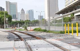 The lot at the corner of Northwest Eighth Street and First Avenue may become a train station.