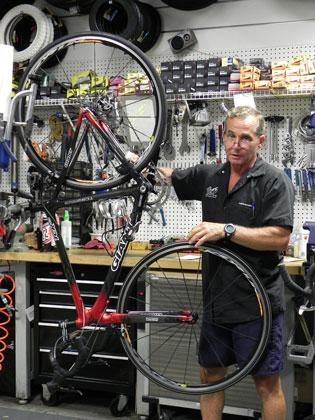Bicycle mechanic Uri Bergbaum, rides his bike 6.5 miles to and from work at Big Wheel Cycles in Hollywood every day.
