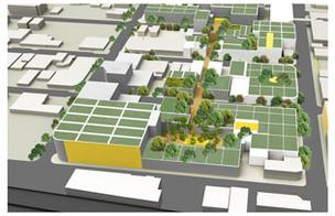 A rendering shows how Craig Robins plans to put trees atop Design District buildings.