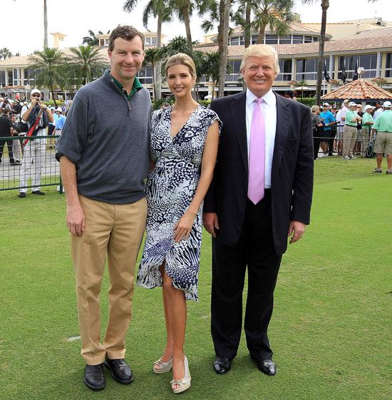 Gil Hanse, the architect who is redesigning the resort's golf course, joins Ivanka and Donald Trump at one of the many events held on the property.