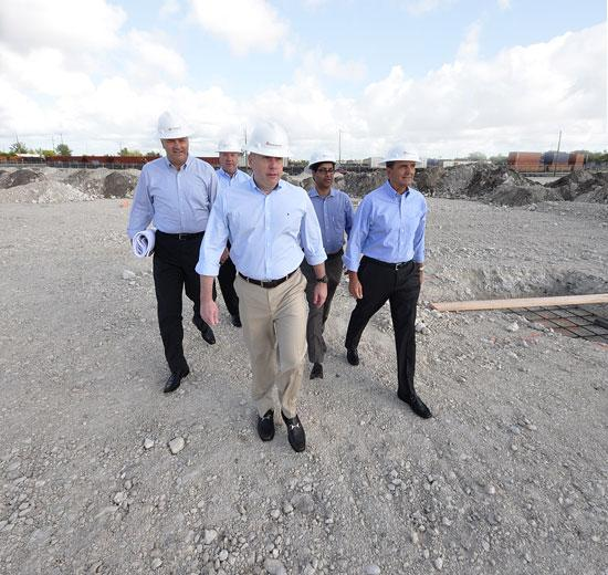 Left to right: Flagler Executive VP Eric D. Swanson; SFLS' Manny Fernandez; and FECI's Vincent Signorello, Husein Cumber and Rafael Rodon.