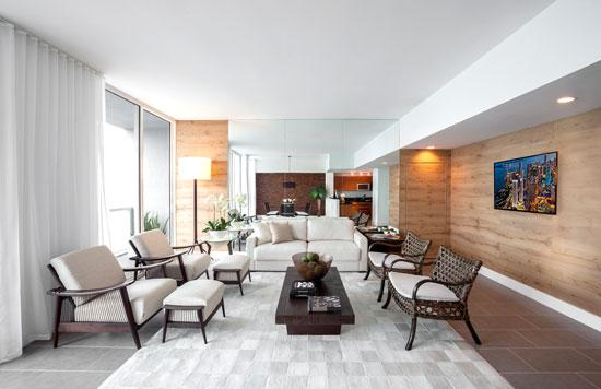 Saccaro USA designed this living room in a unit at Miami's Vizcayne condominium.