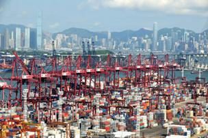 Rows of cranes line the container terminals in Kwai Tsing, Hong Kong.