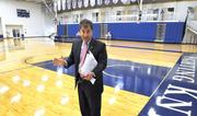 Gregory Malfitano, senior VP for administration, in Lynn University's gym – the area set aside for the media dubbed 'Spin Alley.'