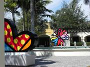 Romero Britto sculptures at the Shops at Midtown Miami.