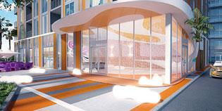 A rendering of the entrance to the MyBrickell condominium.